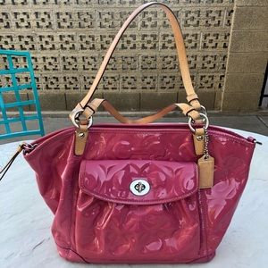 Coach pink patent leather purse